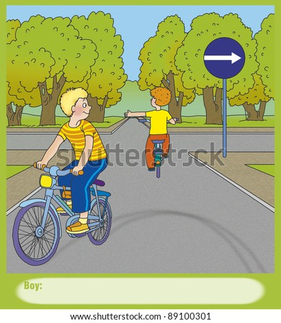 boy turns to the left, correct? - stock photo