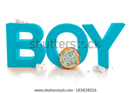 Boy, typical Dutch mouse rusk with blue mice, on a white background - stock photo