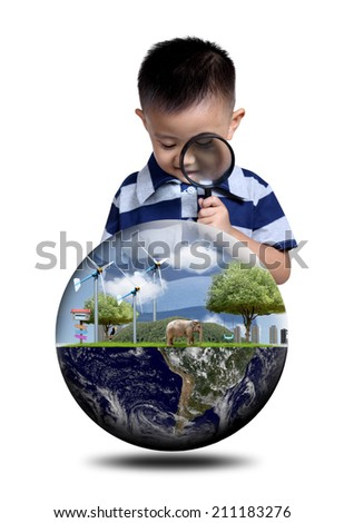 Boy using magnifying glass with globe concept. Boy using binoculars with globe concept. (Elements of this image furnished by NASA) - stock photo