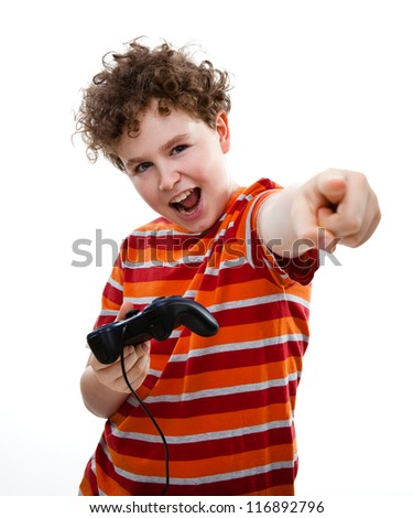 Boy using video game controller isolated on white - stock photo