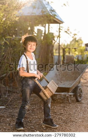 Boy Vintage Style playing wooden Toolbox