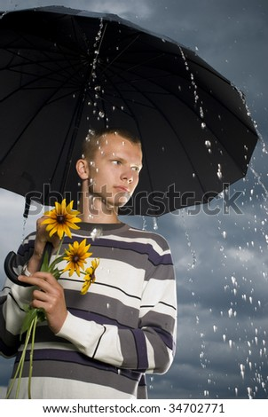 Boy waiting of romantic meeting - stock photo