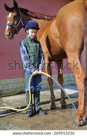 Boy wash his horse - stock photo