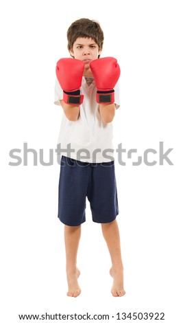 Boy Wearing Boxing Gloves Isolated Over White Background - stock photo