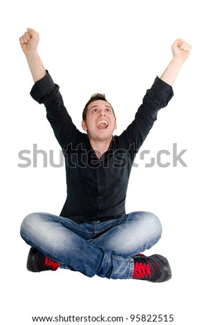 boy who rejoices - stock photo
