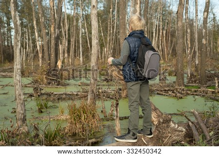 Boy with a backpack walks in the wood