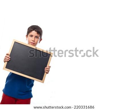 boy with a blackboard - stock photo