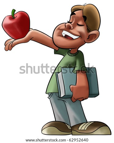 boy with a book in his hand is offering a apple to some one - stock photo
