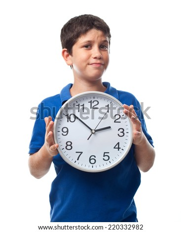 boy with a clock - stock photo