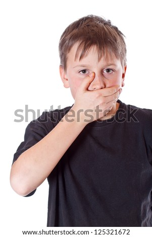 boy with a closed mouth on a white background - stock photo