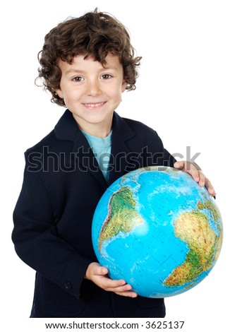 boy with a globe of the world over white background