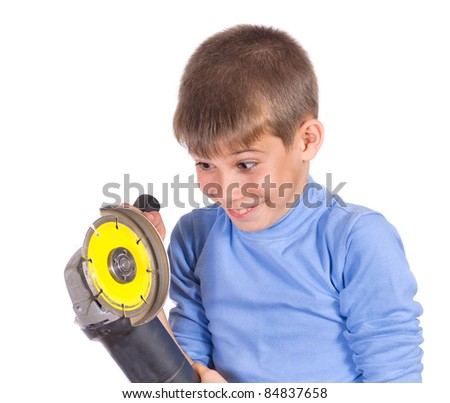 Boy with a grinder. Isolated on white background - stock photo