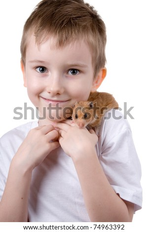 Boy with a  hamster on a white background - stock photo