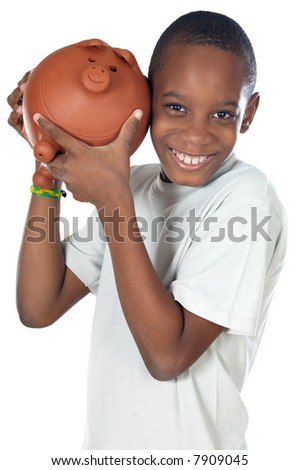 Boy with a money box a over white background - stock photo