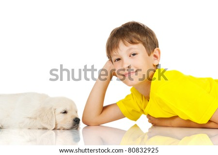 boy with a puppy - stock photo