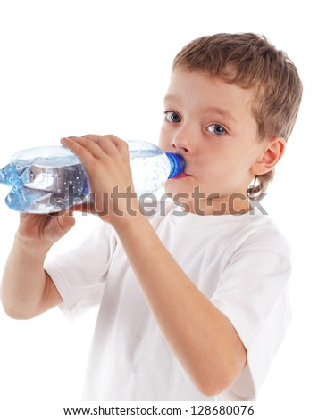 Boy with a water bottle isolated on white