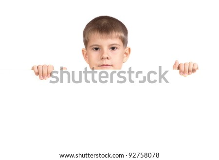 Boy with a white banner. Isolated on white background - stock photo