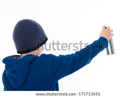 boy with aerosol can  - stock photo