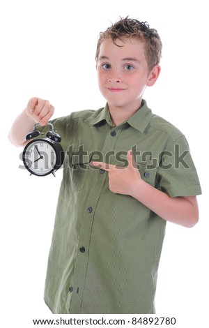 boy with alarm-clock isolated on white background - stock photo