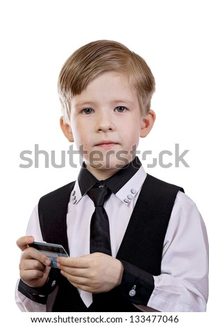 Boy with an electronic payment card