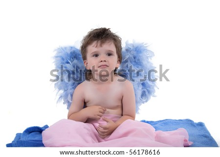 Boy with angel wings posing on a white background - stock photo