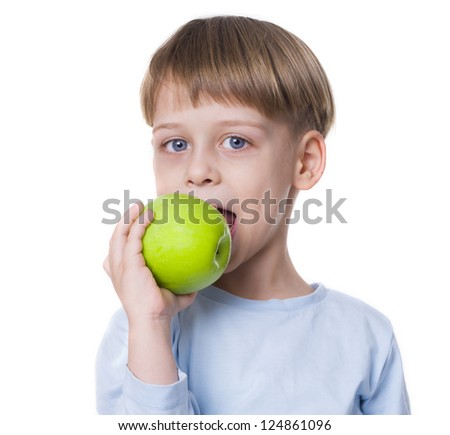 boy with apple - stock photo