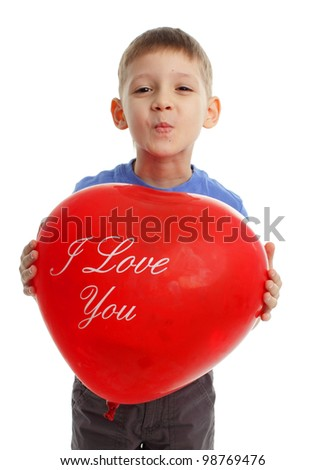 Boy with ballon isolated on white