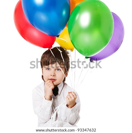 boy with baloons - stock photo
