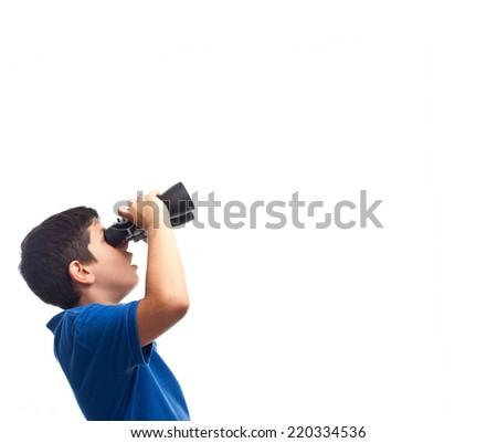 boy with binoculars - stock photo