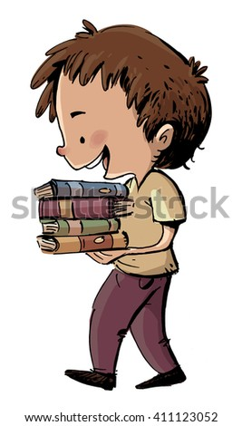 boy with books in their hands - stock photo