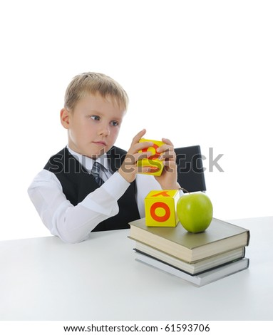 Boy with books. Isolated on white background - stock photo