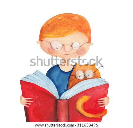Boy with cat and book. Watercolor and gouache Illustration. Hand drawing - stock photo