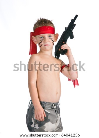 Boy with child's gun - stock photo
