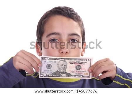 boy with dolar bills, business studio photo - stock photo