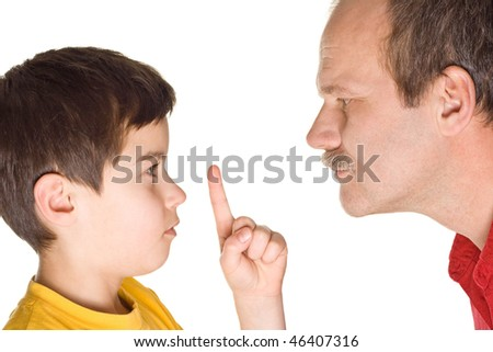 Boy with father pointing at something - isolated on white