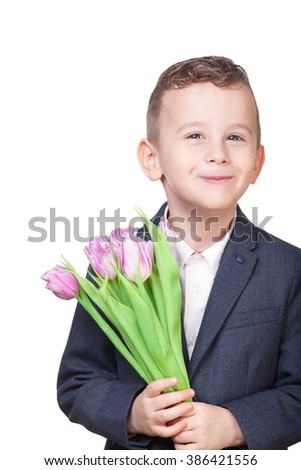 Boy with flowers on isolated white
