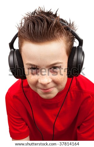 boy with freckle and headphones on a white background