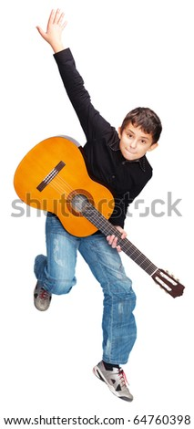 Boy with guitar jumping isolated on white background - stock photo