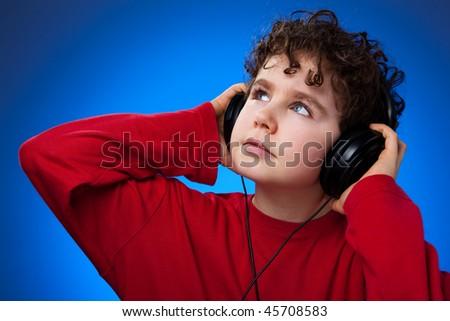 Boy with headphones - stock photo
