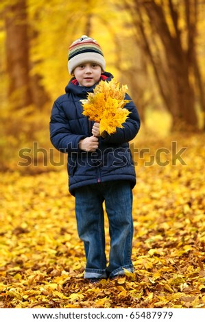 boy with leaves in autumn park - stock photo