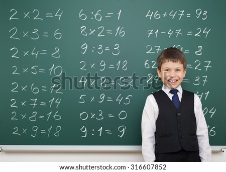 boy with math numbers on school board - stock photo