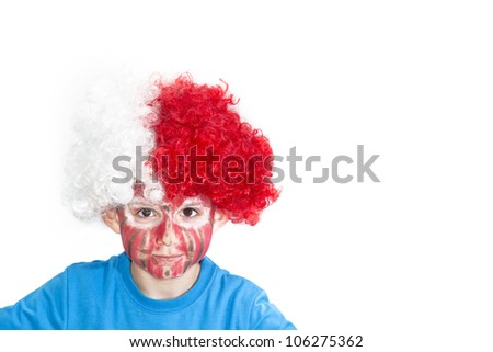Boy with painted face. Sport supporter. - stock photo