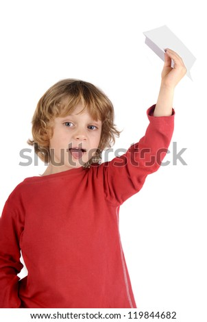 boy with paper plane - stock photo