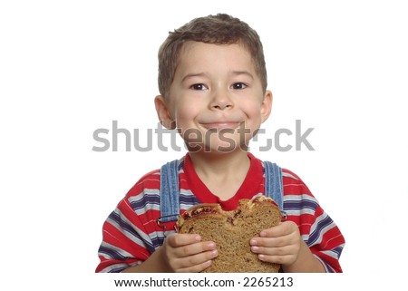Boy with Peanut Butter and Jelly Sandwich - stock photo