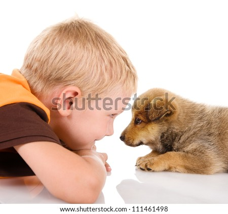 boy with puppy. isolated on white background