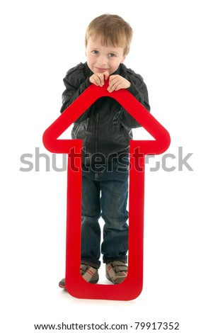 Boy with red upward arrow, on white background.