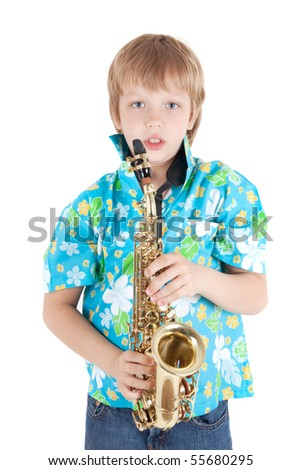 Boy with saxophone