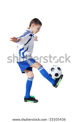Boy with soccer ball, Footballer on a white background. (isolated)