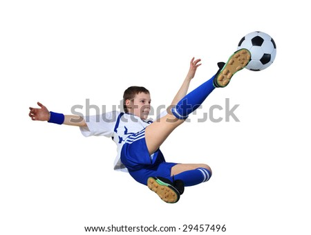 Boy with soccer ball on a white background, (See more Boy with soccer ball in my portfolio) - stock photo