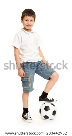 boy with soccer ball studio isolated - stock photo